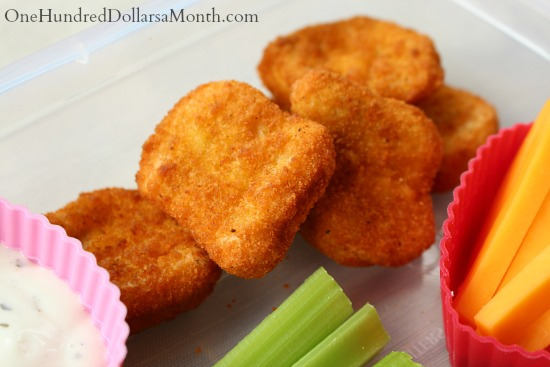 Bento Box Ideas – Chicken Nuggets, Cheese Sticks, Celery Sticks and Ranch Dip