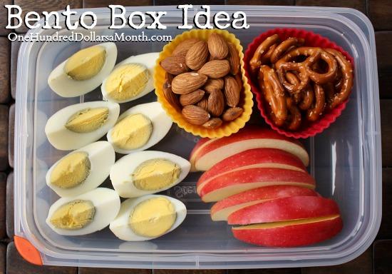 Bento Box Ideas – Hard Boiled Egg, Apples Slices, Pretzels and Almonds