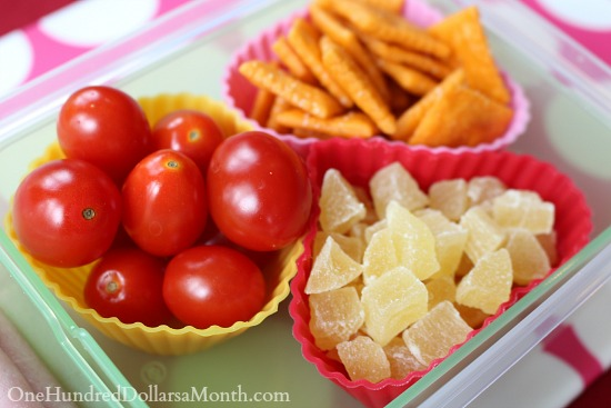 Bento Box Ideas – Ham Roll Up, Cheezits, Grape Tomatoes and Dried Pineapple