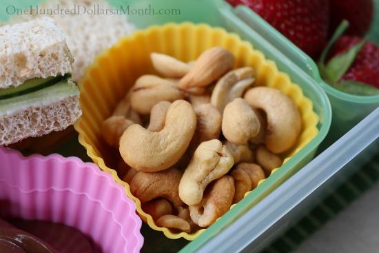 Bento Box Ideas – Cucumber Sandwich, Strawberries, Nutella and Cashews