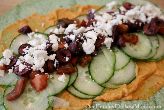 Greek Salad Wrap with Feta Cheese