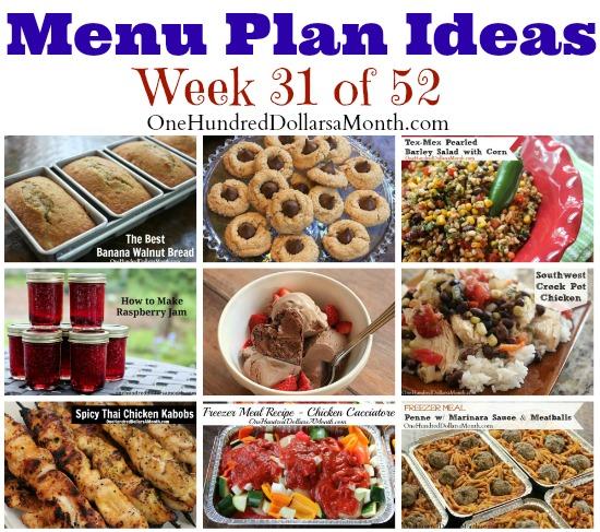 Weekly Meal Plan – Menu Plan Ideas Week 31 of 52