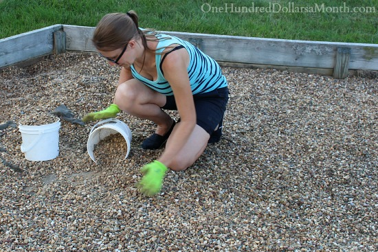 scooping up gravel