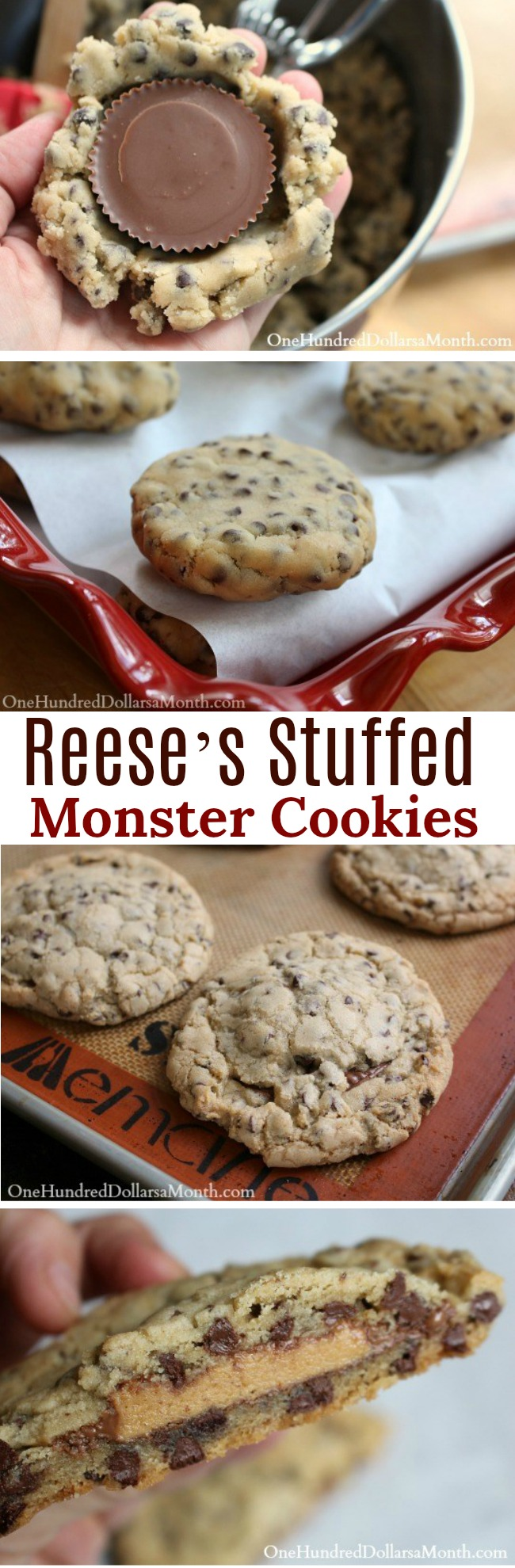 Chewy Reese's Stuffed Monster Cookies