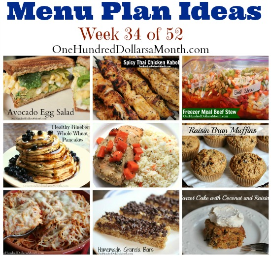 Weekly Meal Plan – Menu Plan Ideas Week 34 of 52
