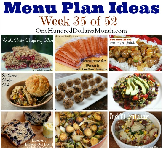 Weekly Meal Plan – Menu Plan Ideas Week 35 of 52