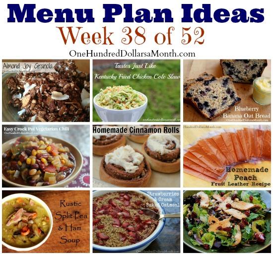 Weekly Meal Plan – Menu Plan Ideas Week 38 of 52