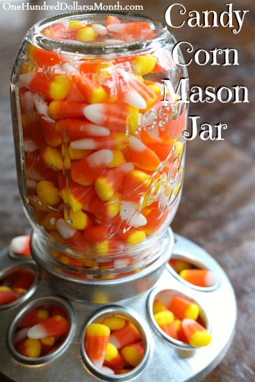 Candy Corn Mason Jar