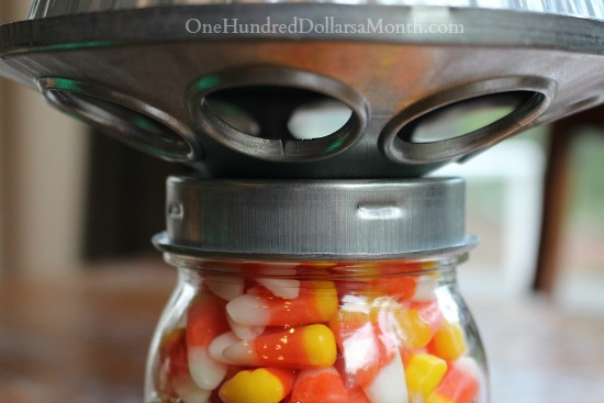 Candy Corn Mason Jar for Halloween