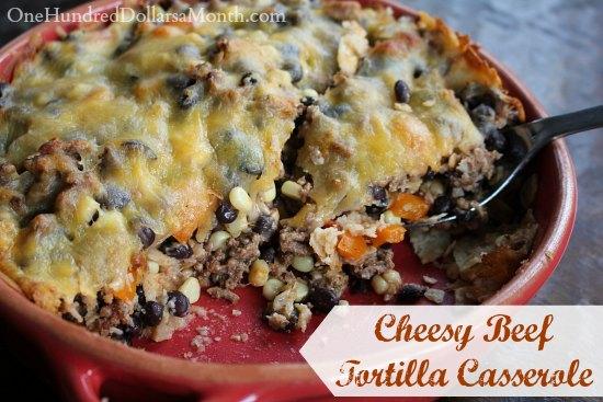 Cheesy Beef  Tortilla Casserole