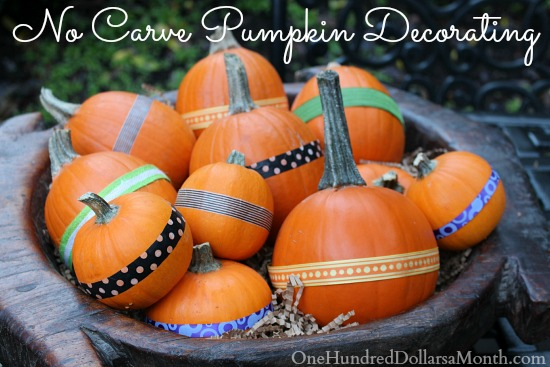 No Carve Pumpkin Decorating Idea – Pumpkins With Ribbons
