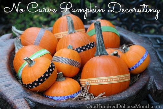 No Carve Pumpkin Decorating Idea – Pumpkins With Ribbons
