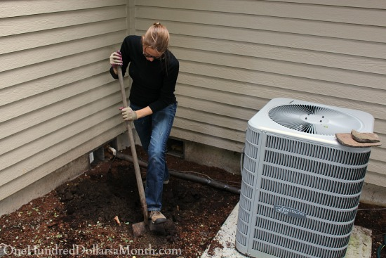 digging around an air conditioning unit