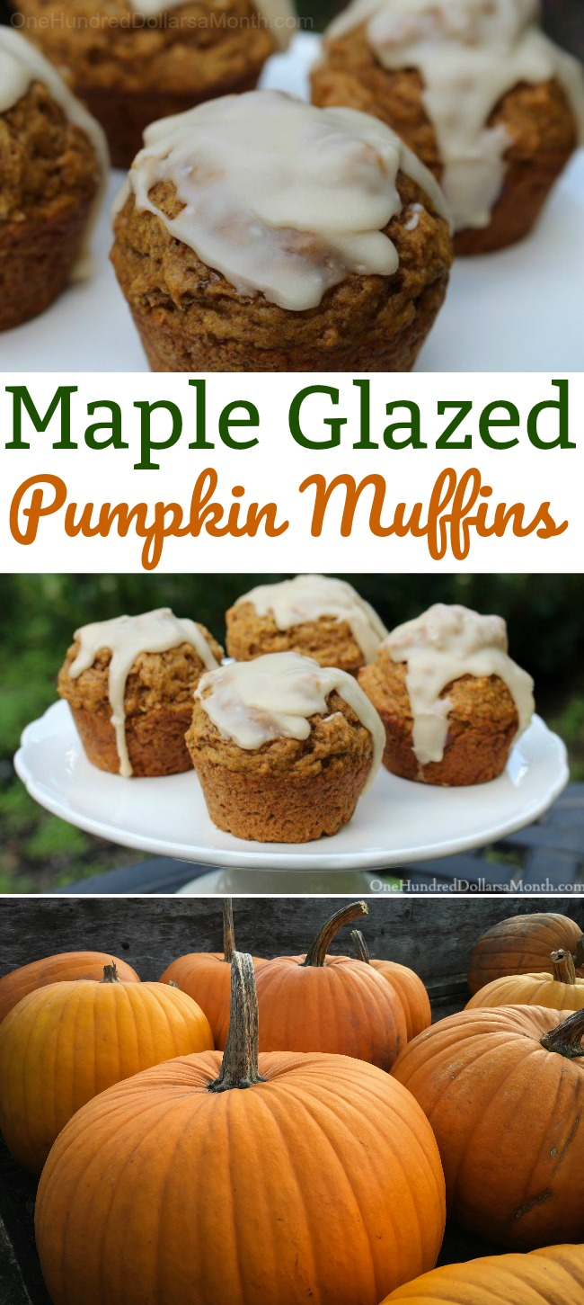 Maple Glazed Pumpkin Muffins
