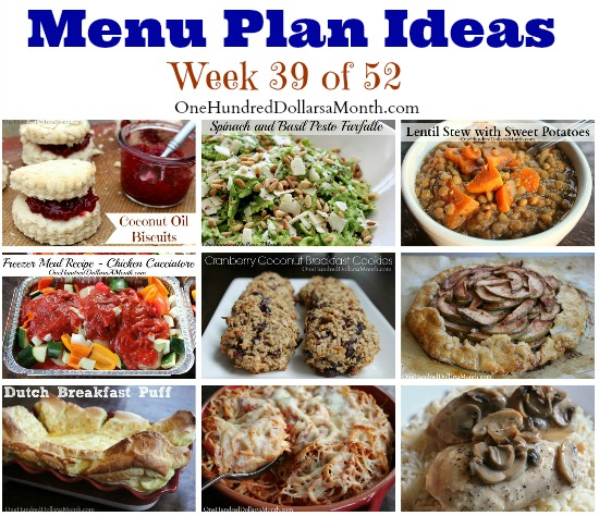 Weekly Meal Plan – Menu Plan Ideas Week 39 of 52