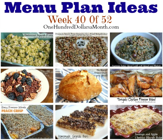 Weekly Meal Plan – Menu Plan Ideas Week 40 of 52