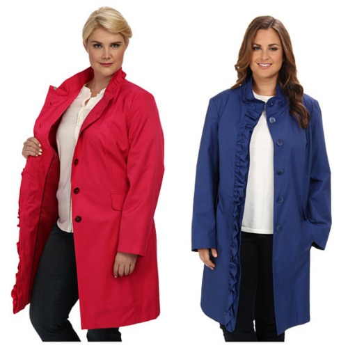 dkny plus size Ruffle Front Walker jacket
