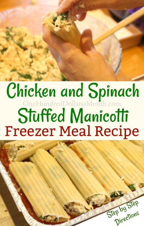 Freezer Meal – Chicken and Spinach Stuffed Manicotti
