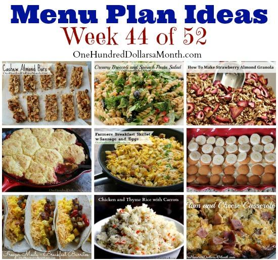 Weekly Meal Plan – Menu Plan Ideas Week 44 of 52