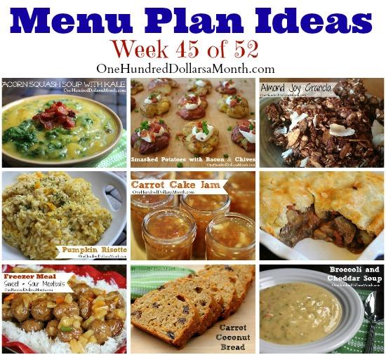 Weekly Meal Plan – Menu Plan Ideas Week 45 of 52