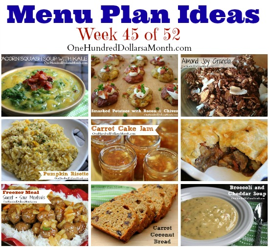 Weekly Meal Plan – Menu Plan Ideas Week 45 of 52