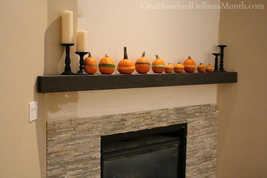 slate tile fireplace wood mantel