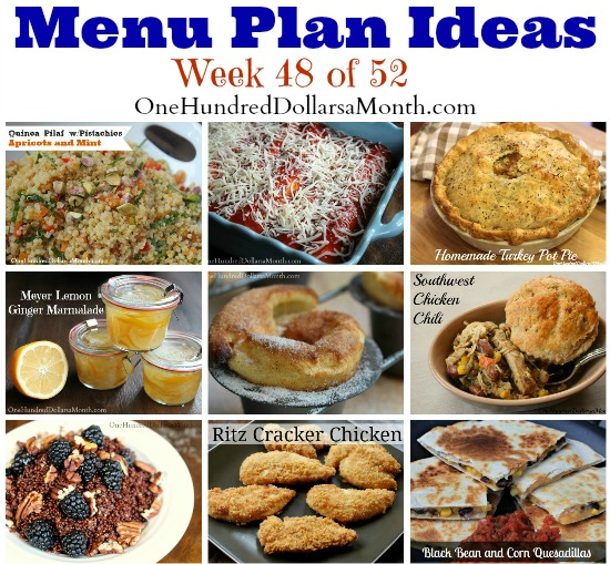 Weekly Meal Plan – Menu Plan Ideas Week 48 of 52