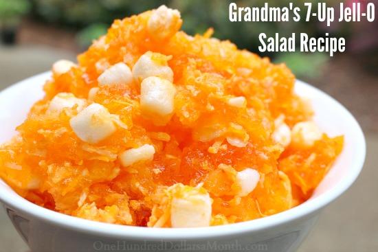 Grandma's 7-Up Orange Jell-O Salad Recipe