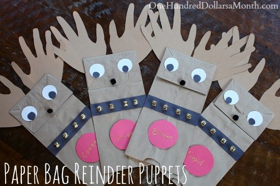 Easy Christmas Crafts for Kids – Paper Bag Reindeer Puppets