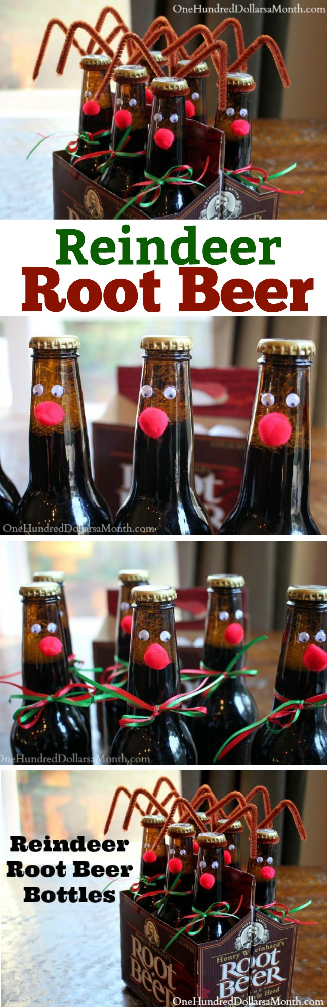 Easy Kids Christmas Crafts — Reindeer Root Beer Bottles