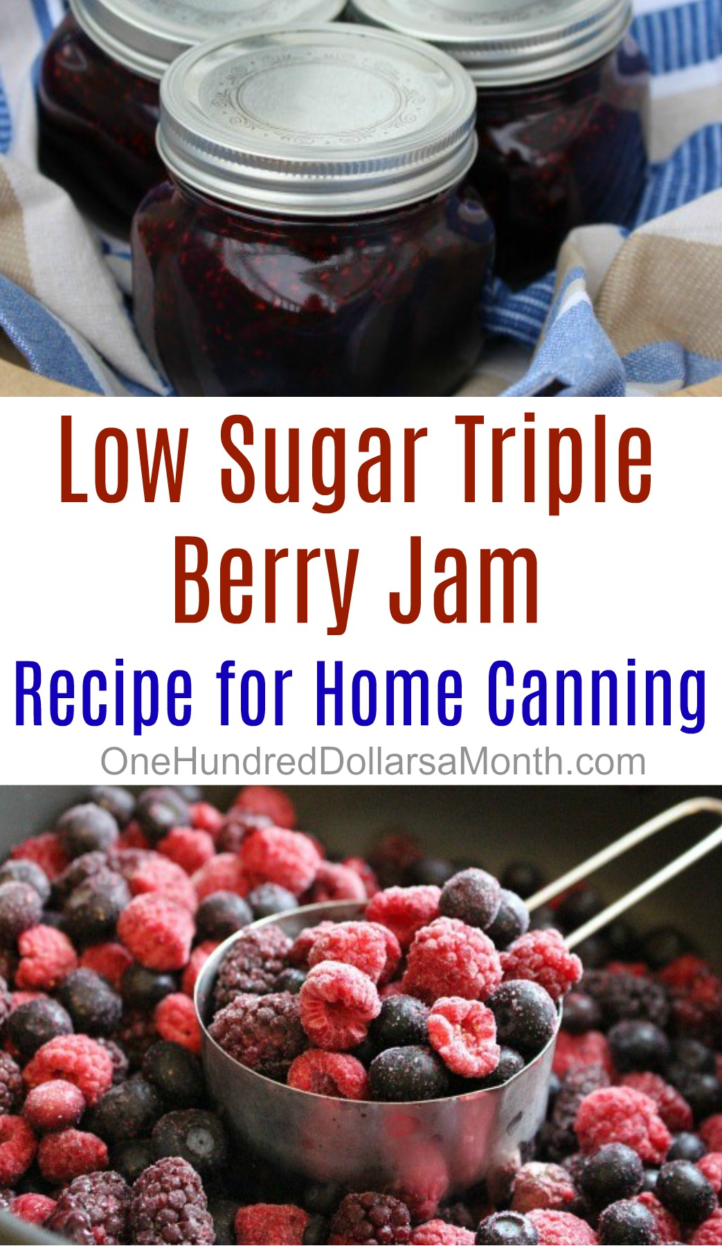 Low Sugar Triple Berry Jam Recipe - One Hundred Dollars a ...