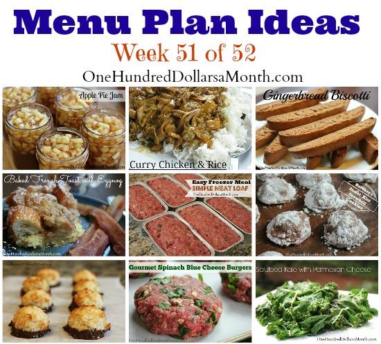 Weekly Meal Plan – Menu Plan Ideas Week 51 of 52