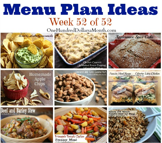 Weekly Meal Plan – Menu Plan Ideas Week 52 of 52