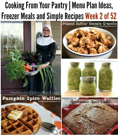 Cooking From Your Pantry | Menu Plan Ideas, Freezer Meals and Simple Recipes Week 2 of 52