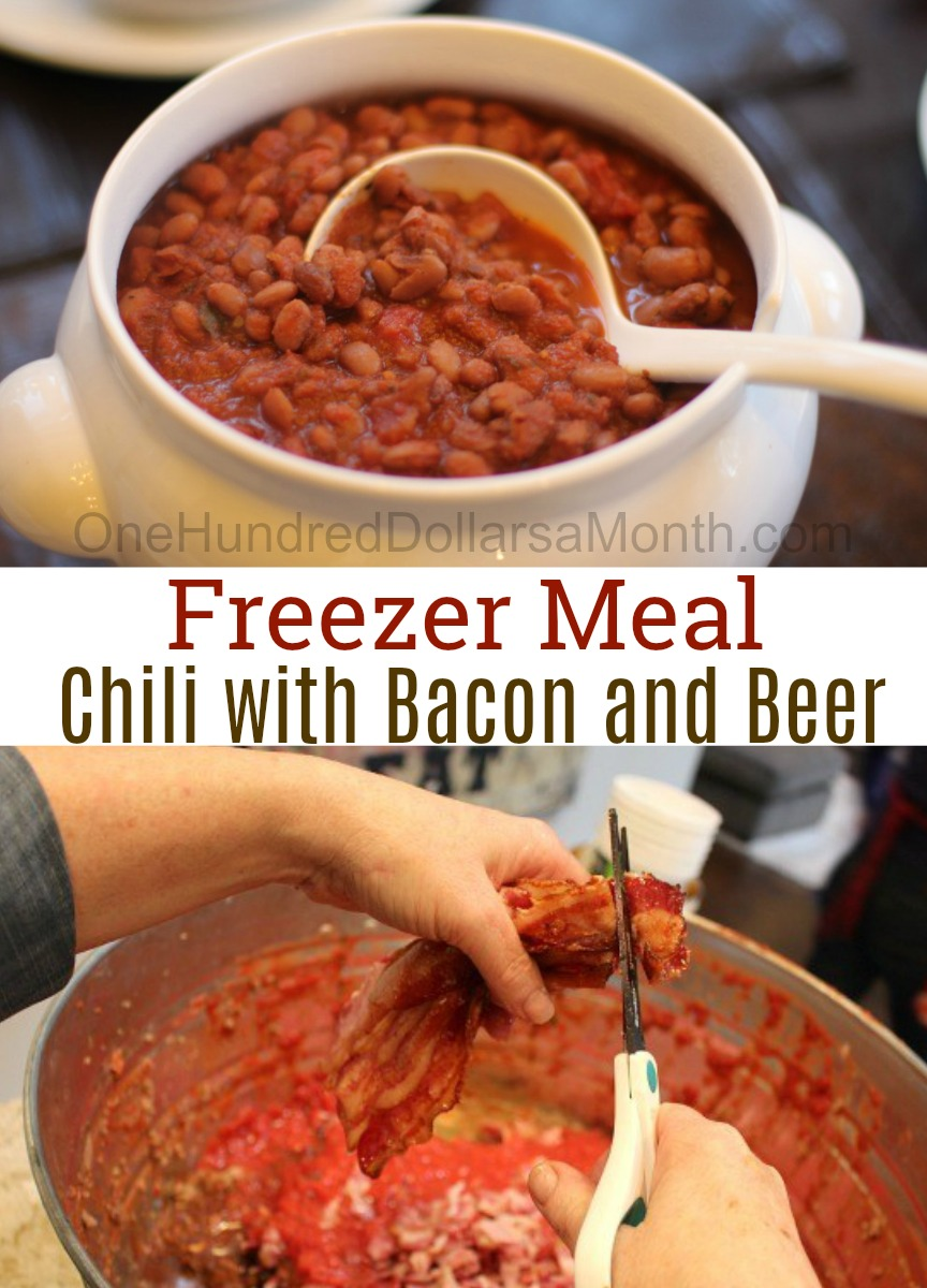 Freezer Meal Chili Con Carne with Bacon and Beer