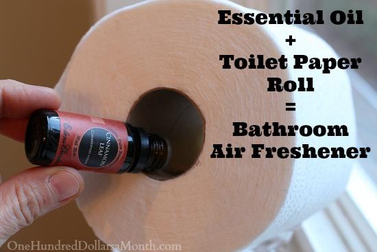 Easy Houshold Tip: Essential Oil + Toilet Paper Roll = Bathroom Air Freshener