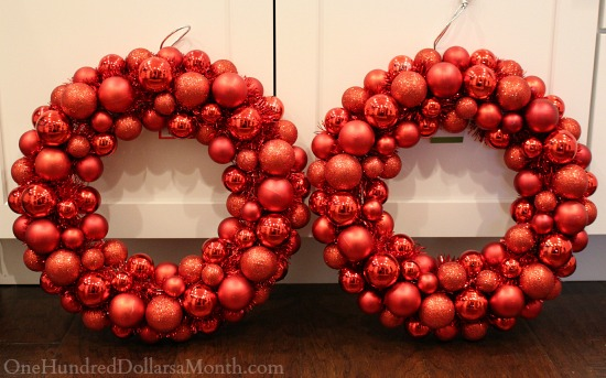 red ornament wreaths