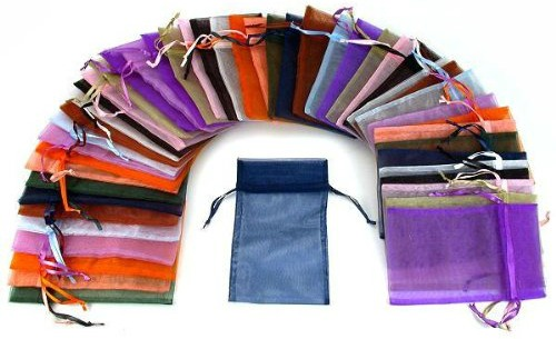 48 Organza Drawstring Pouches Gift Bags Assorted Colors