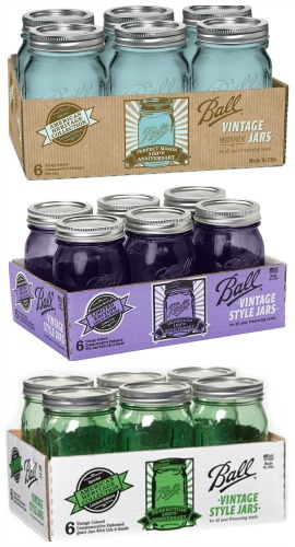 blue purple green canning jars