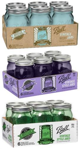 blue purple green canning jars