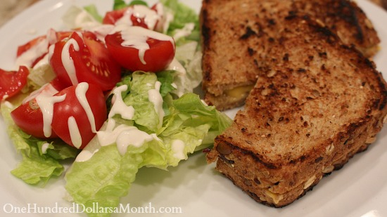 salad and grilled cheese