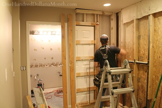 Master bathroom remodel cameron the carpenter gets for Master bathroom pocket door