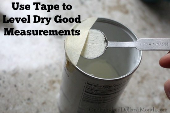 Easy Kitchen Tip – Use Tape to Level Dry Good Measurements