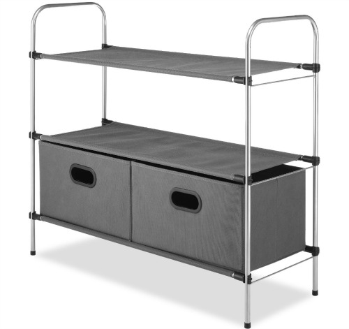 Whitmor 6779-4464 Closet Organizer Collection 3 Tier Shelves with 2 Collapsible Drawers