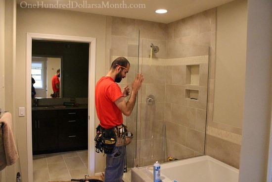 glass shower installation