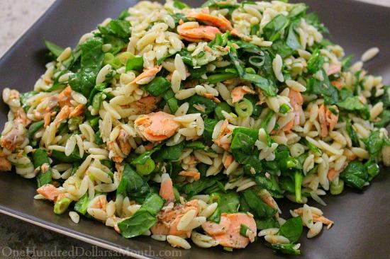 Salmon, Spinach, and Orzo Salad with Lemon-Dill Vinaigrette