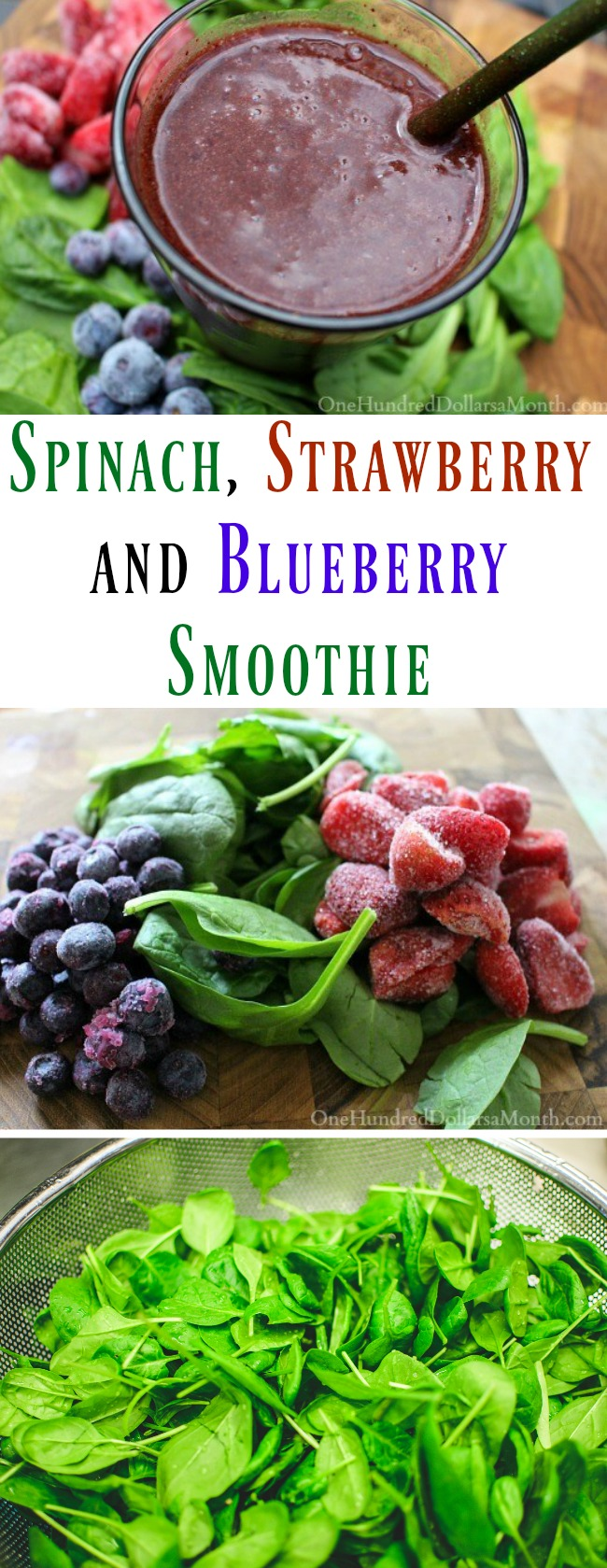 Spinach, Strawberry and Blueberry Smoothie