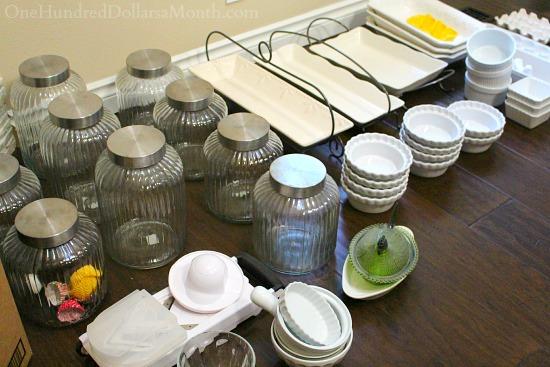 white dishes garage sale