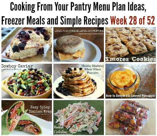 Cooking From Your Pantry | Menu Plan Ideas, Freezer Meals and Simple Recipes Week 28 of 52