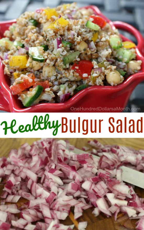 Bulgur Salad with Chick Peas, Cucumbers, Red Peppers, Lemon and Dill